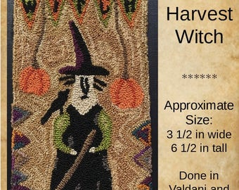 E-Pattern Instant Download! Harvest Witch Punch Needle Perfect Prim Halloween Primitive Witch Black Crow October Hat Orange Pumpkin Rustic