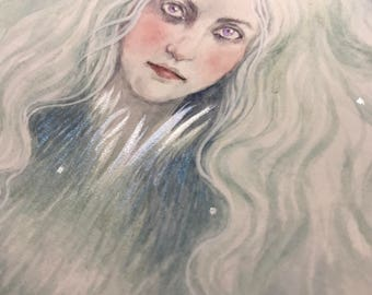 Winter Fae Hand Embellished Giclee Print