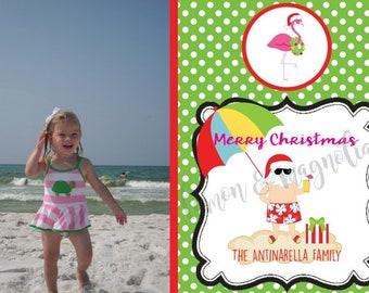 Lime Polka Dot Tropical Christmas Card