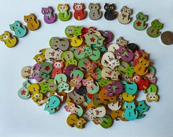 Wooden Cat Buttons x 10