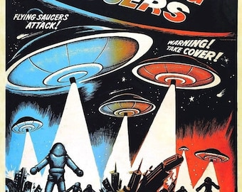Spring Sales Event: EARTH Vs. The FLYING SAUCERS Movie Poster 1956 Sci-Fi Aliens