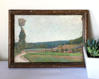 Antique French Landscape Oil Painting on Board