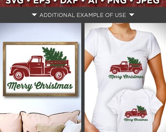 Merry Christmas Red Truck SVG Red Truck - Christmas Tree Truck Svg - Red Truck Christmas SVG - Merry Christmas Tree Svg - 077