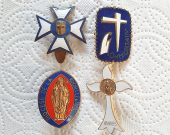 Set of 4 Antique French Religious Pilgrimage Badges Lapel Pins Brooches