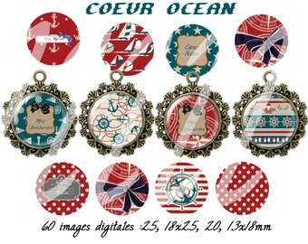 60 digital images for cabochon coeur ocean (25,18x25,20,13x18mm)