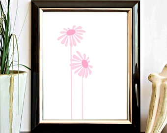 Pink Flowers / Floral Printable  Wall Art - Nursery Wall Decor - Office Decor - Digital Artwork