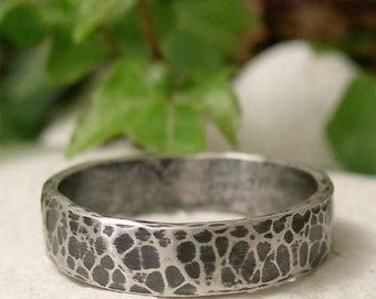 Hand Hammered Silver Ring, Oxidized Silver Ring Band, Hand Forged Blackened Silver, Mens Ring, Womens Ring, Rustic Hammered Silver Jewelry