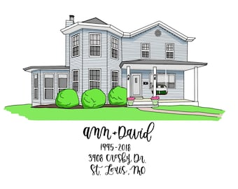 Custom Home Portrait - House Portrait | Digital Home | House Painting | House Warming Gift | Gift For The Family