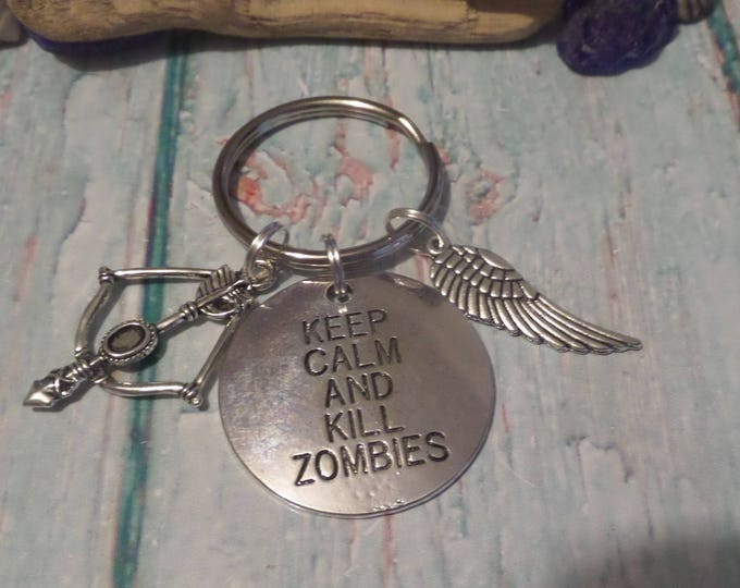 Keep Calm & kill zombies keyring, rick fandom gift, daryl fan gift, dead walking keyring, zombie gift, crowwbow gift, sandykissesuk