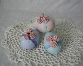 Hand Painted Paper Mache Easter Eggs Pink Rose Lace Lilac Aqua Basket Decor Spring