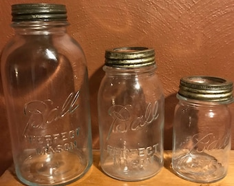 Vintage 3 Piece Ball Perfect Mason Canning Jar Set Half Gallon Quart Pint 1923-1933 Canister Set Storage Collectible