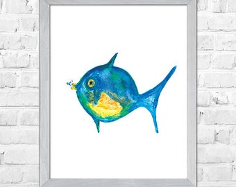 Blue Fish Print, Nursery Art, Fish Art Print, Fish Painting, Beach Decor, Kids Art, Nursery Wall Art, Baby Nursery Decor Watercolor Painting
