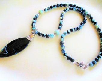 Black fire Agate necklace, fire Agate necklace, boho chic necklace, summer beach necklace, turquoise neckace, long black necklace