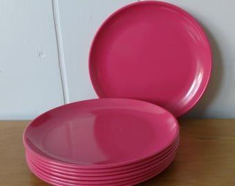 8 vintage bright pink melmac snack plates Stetson