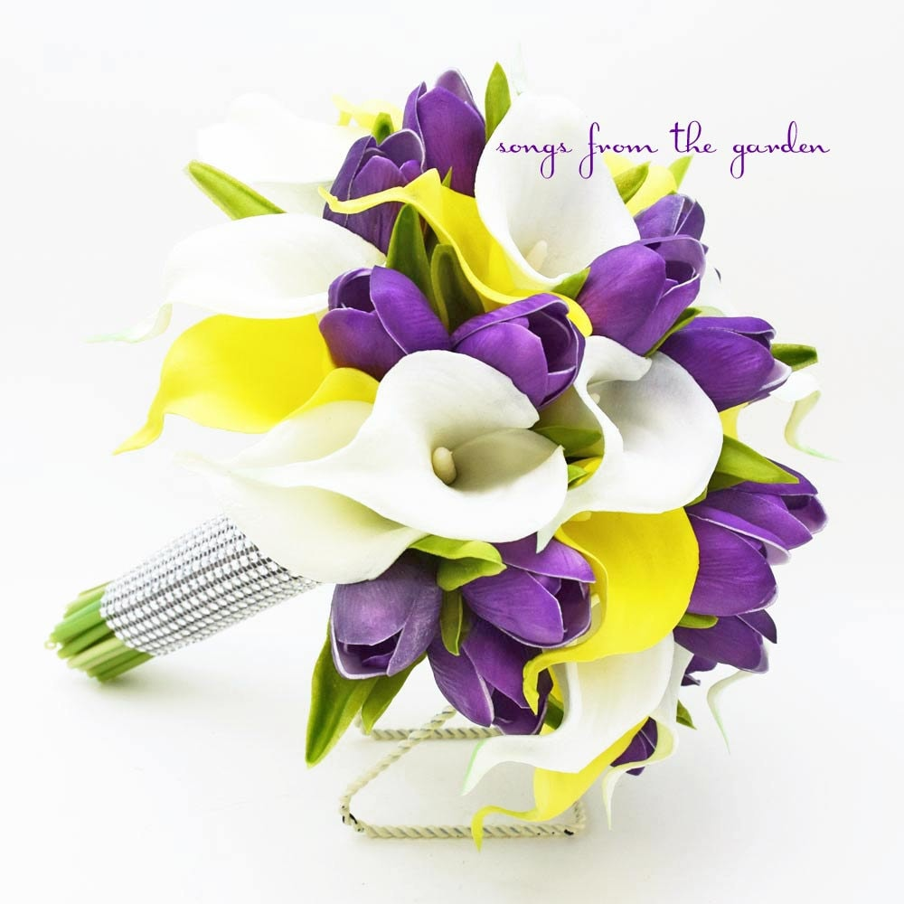Real Touch Yellow White Callas Purple Tulips Bridal Bouquet