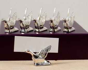 Flying Geese - Place card Holders - Set of Six - French Vintage - Tableware - Flatware