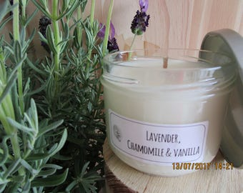 Lavender, Chamomile & Vanilla scented Soy Candle