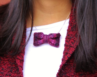 Womens Bow tie Necklace, Womens Gift, Women's Necklace, Knitted Bow tie for Women, Knitted Necklace, Purple Knit Bow Tie Necklace, Bow Tie