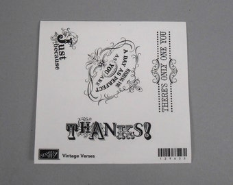 Stampin Up Vintage Verses - set of 4 rubber stamps new and unmounted