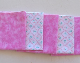 Set of 5 Soft Pink and White with Tiny Flowers  Flannel , Reusable Baby Wipe/Hanky