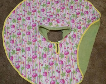 Girls Green terry with Pink Strawberries Towel Poncho