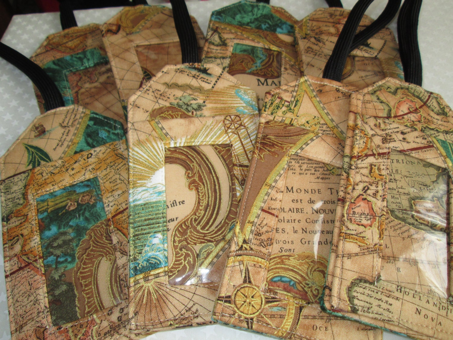 Antique map fabric luggage tag gift card holder travel zoom gumiabroncs Image collections