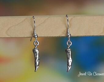 Sterling Silver Chili Pepper Earrings Fishhook Earwires Solid .925