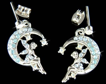 Swarovski Crystal Blue Fairy Tink TINKERBELL pixie Angel Wings Crescent Moon Earrings Christmas Gift new