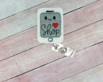 Online Shopping Badge Reel - Tablet Badge - Shopping Badge Holder - Badge Reel - Feltie Badge Reel- Retractable ID Badge Holder - Badge Pull