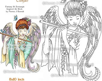 Fairy Tangles Printable Coloring Pages by Norma J Burnell Angel & Flute Digital Coloring Book Sheets Adult Coloring for Grownups