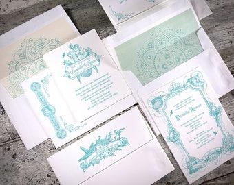 Boho Beach Letterpress Wedding Invitation Suite (SAMPLE)