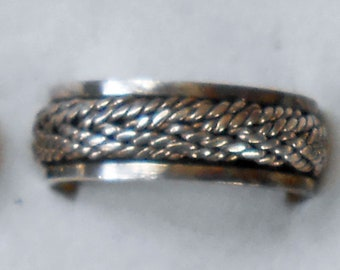 Size 10 Sterling Silver Woven Rope Braided Spinner Ring  New Vintage Wholesale Thumb Men's Wedding