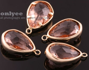 2pcs-17mmX10.5mBright Gold Faceted NEW Style Tear Drop With Glass pendants-Peach(M395G-E)