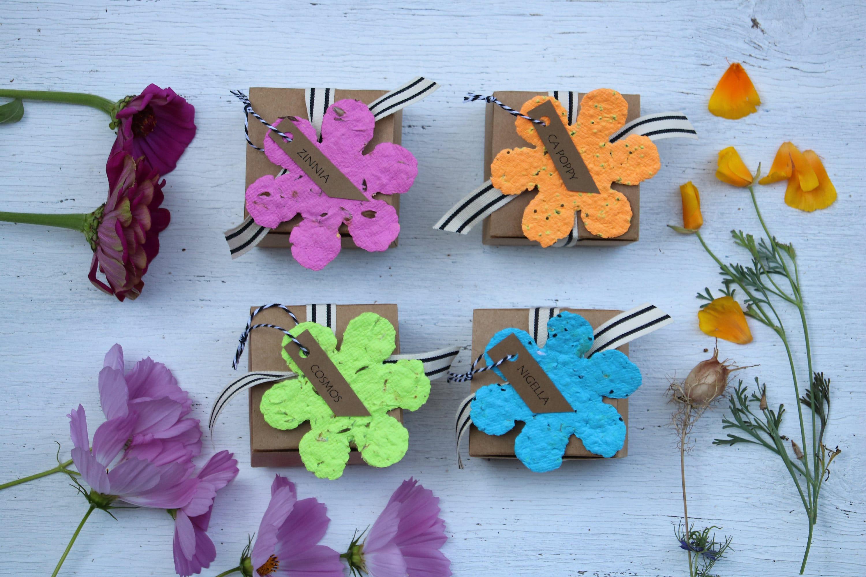 Paper Flower Gardener Gift Tags Plantable Paper Gift For Wife