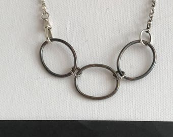 Two tone Sterling silver necklace