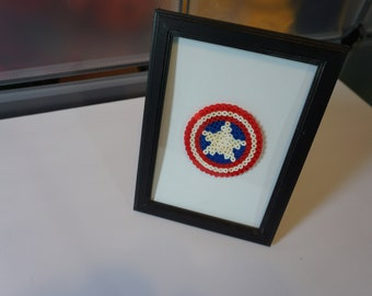 Perler Bead Pixel Art Captain America's Shield in 5x7 Picture Frame