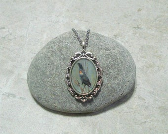 Red Winged Blackbird Necklace Pendant Antique Silver