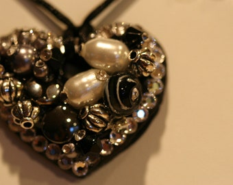 Small Black Heart Embellished with Swarovski Crystals one of a kind