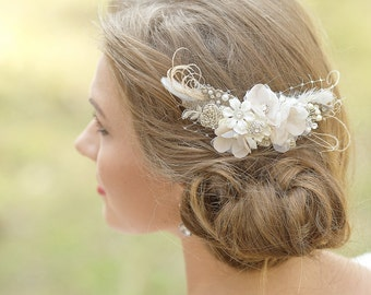 Wedding Hair accessories Bridal headpiece Rustic hairpiece Flower hair comb Burlap hairpiece Lace fascinator Floral hair comb