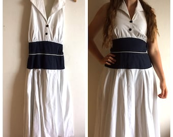 Amazing vintage 50s style sailor dress - navy and white