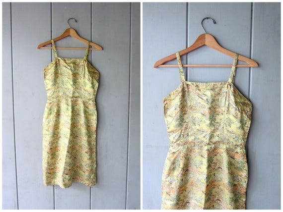 Japanese Print Dress Fitted GOLD Wiggle Dress Modern Floral Tree Print Dress Asian Inspired Satin Sundress Kimono Chinese Ethnic Womens XS