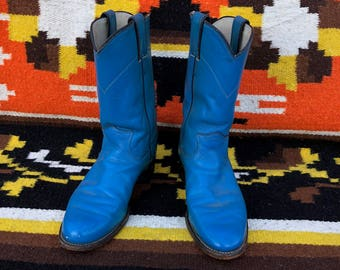 Vintage Electric Blue Cowboy Boots