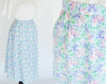 Vintage 1950's Vintage Blue Floral Midi Skirt - Mori Girl Skirt - Garden Party tea time High Waist Spring A-line Skirt - Size medium