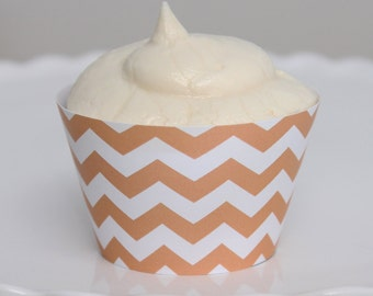 INSTANT DOWNLOAD – Printable Pastel Orange Chevron Cupcake Wrapper – Printable Cupcake Wrappers