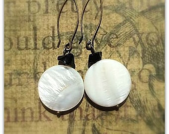 Mother of Pearl Round Earrings with  small Obsidian Chips Beads on Antique Brass Earwires