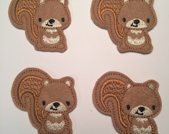 Brown Squirrel Woodland Animals Embroidered Felt Applique