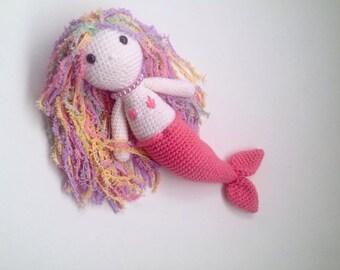 Mermaid doll, knitted mermaid, doll, crochet doll, handmade doll, mermaid, birthday gift, baby shower, gift for girls, amigurumi mermaid