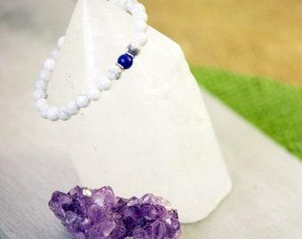 Howlite, Lapis Lazuli, stainless steel, simple, semi-precious stone, blue, white, marble, rings, minimalist