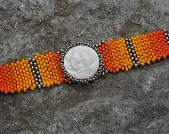 Free Form Peyote Stitch Beaded Bracelet Cuff - Eclipse - Hand Carved Cabochon  - Bead Weaving - BOHO