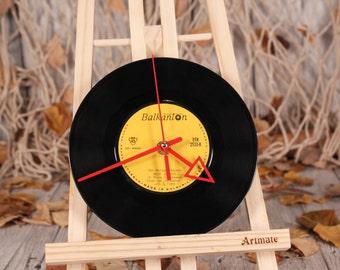 "Vinyl record clock, Wall clock bach, Classic music vintage upcycled disc, Clock arrow, Gift for musicians, 7"" vinyl clock, Platter clock"